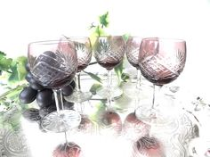 Amethyst Cut Crystal Sherry Glasses Port or Liqueur Glass