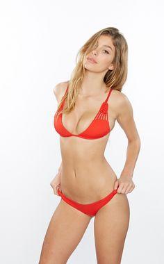 Frankies Bikinis - Lava Red Bella Top  5a566d4012