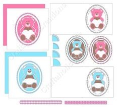 "Set of 4 Boy & Girl Teddy Toppers and 2 6x6"" Aperture Cards SVG Digital Cutting File by CraftaholicCreation on Etsy"