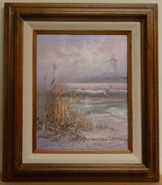 """Oil painting on canvas by Karl Neumann """"Light House"""". For Rikki's Refuge. Ends today!!"""