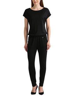 Berydale Damen Jumpsuit mit kurzem Arm, Schwarz, XS: Amazon.de: Bekleidung