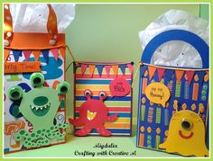 Crafting with Creative M: SVG ATTIC Birthday Bash Blog Hop Monster party bags #svgattic #svg