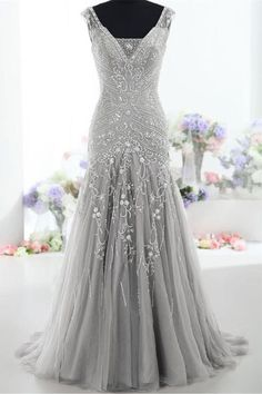 Silver Gray Long Mermaid Lace Up Beading Modest Prom Dresses,Evening Dresses Z0289