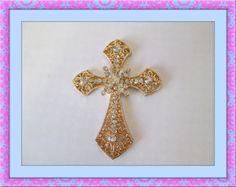 Diy phone deco alloy rhinestone gold cross bling by KawaiiDamaras, $4.50