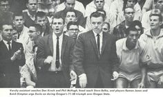 Oregon basketball coach Steve Belko with assistants Don Kirsch and Phil McHugh 1961 during game vs. Oregon State. From the 1961 Oregana (University of Oregon yearbook). www.CampusAttic.com