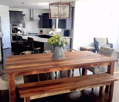 Reclaimed Plank Timber Dining Table by wwmake on Etsy https://www.etsy.com/listing/249525375/reclaimed-plank-timber-dining-table