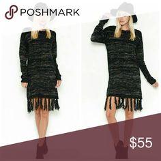 Fringed Sweater Dress Fringe sweater dress   Fabric  60% Polyurethane 40% NYLON Dresses Long Sleeve