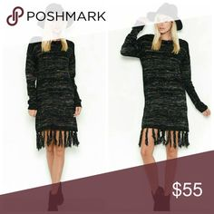 Coming Soon Fringed Sweater Dress Fringe sweater dress   Fabric  60% Polyurethane 40% NYLON Dresses Long Sleeve