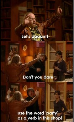 Black Books: Let's paaarrrty! Tv Show Quotes, Movie Quotes, Funny Quotes, British Sitcoms, British Comedy, Black Books Quotes, Dylan Moran, British Humor, Comedy Tv