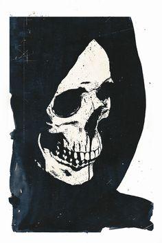 Alex Cherry, art, black and white, skull, dark,