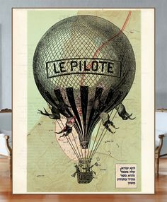 Old-fasion balloon flying over the reprinted page Israel Maps from the Tanakh Period (597-538 b.c.) - HEBREW - Vintage Book Page Art Print. via Etsy.