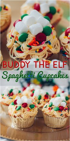 "A tastier nod to Elf's most iconic scene: maple cupcakes with vanilla ""spaghetti"" buttercream, M&Ms, sprinkles, and marshallows"