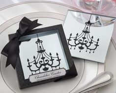 """""""Chandelier"""" Mirrored Glass Coasters {Favors to break apart the damask theme a little?}"""