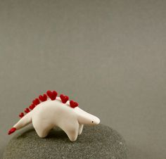 "Little Stegosaurus Love Sculpture by MadeWithClayAndLove: Handmade of polymer clay, 2"" long, #Stegosaurus #MadeWithClayAndLove"