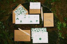 summer camp inspired wedding suite by Chelsey Emery Designs // photo by Anne Schmidt Photography. View more http://www.ruffledblog.com/maine-summer-camp-wedding-ideas/