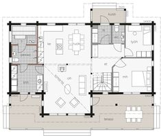 Kontio Iso-Kajastus is a welcoming home that combines impressive looks with a practical and functional floor plan. House In The Woods, My House, House Blueprints, Country Style Homes, Log Homes, Modern House Design, Sweet Home, Floor Plans, Flooring