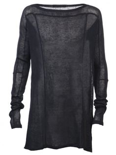 JULIUS MA - Sheer Linen Paneled Sweater - 420KNM1 NAVY - H. Lorenzo