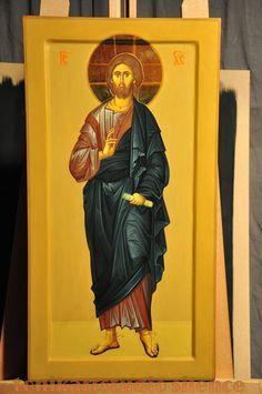 Icon of Christ Byz-art by Anda Tzara on Tonikartstudio Christ Pantocrator, Sacred Art, Byzantine, Holy Quotes, Christian, Studio, Painting, Art Production, Painting Art