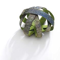 Annamaria Zanella Brooch: Green cage, 2011 Silver, vitreous enamel, gold