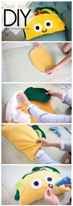 LifeAnnStyle DIY Cute Taco Pillow Plushie (Father's Day gift ideas) |- NO Sew  | www.annlestyle.com