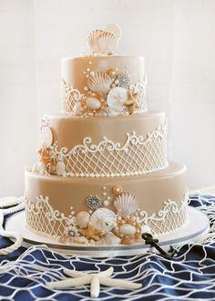Little Mermaid Wedding Cake - Decorating sweets - Cake-Kuchen-Gateau Pretty Cakes, Beautiful Cakes, Amazing Cakes, Beautiful Beach, Unique Wedding Cakes, Wedding Cake Designs, Wedding Themes, Wedding Ideas, Beach Wedding Cakes