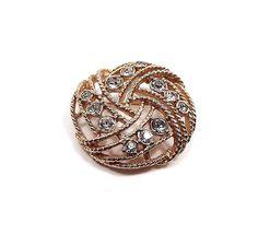Vintage Filigree Rhinestone Brooch Pin Gold Tone by SharkysWaters