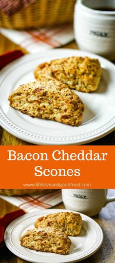 Bacon Cheddar Scones, filled with cheese, crispy bacon, and green onions are a wonderful addition to brunch menus and even pair perfectly with a savory soup. via sheilat Best Homemade Bread Recipe, Quick Bread Recipes, Waffle Recipes, Brunch Recipes, Breakfast Recipes, Baking Recipes, Brunch Menu, Party Recipes, Muffin Recipes
