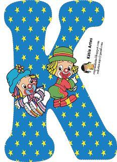 EUGENIA - KATIA ARTES - BLOG DE LETRAS PERSONALIZADAS E ALGUMAS COISINHAS: Junho 2013 Circus Birthday, Circus Theme, Classroom Architecture, Clown Party, Cute Letters, Send In The Clowns, Alphabet And Numbers, Alphabet Letters, Printable Letters
