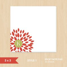 Personalized Sticky Note // Red Blooming Blossom with Monogram by k8inked