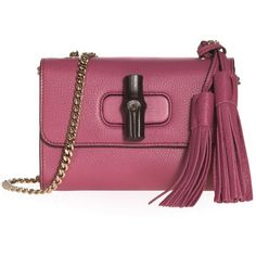 Gucci Mini Bamboo Chain Strap Shoulder Bag ($1,212) ❤ liked on Polyvore featuring bags, handbags, shoulder bags, mini cross body purse, red crossbody, crossbody handbags, mini crossbody handbags and gucci purses