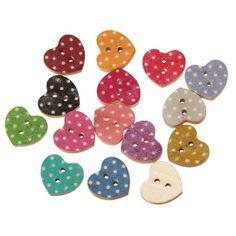 Wooden polka dot heart shaped buttons