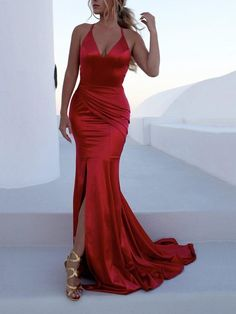 Sexy Simple Prom Dress,Backless Prom Dress,V- neckline S traps Red Mermaid Prom Dresses Long Prom Dress,Sexy Party Dress,Prom Eve Prom Dresses 2018, Backless Prom Dresses, Plus Size Prom Dresses, Mermaid Prom Dresses, Prom Party Dresses, Formal Evening Dresses, Evening Gowns, Sexy Dresses, Dress Formal
