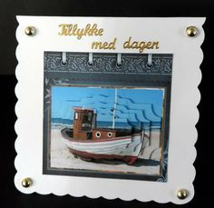 Small fishing boat card with shaped layers on Craftsuprint designed by Angela Wake - made by Ulla Skraedderdal -