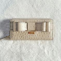 Kate Spade Ostrich Bow Wallet Kate spade ostrich wallet with a bow. New with a tag. kate spade Bags Wallets