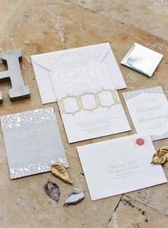 Stationery suite inspired by mercury glass, mixed metals & architecture at the Boca Resort, by Make Merry! Photography: Kat Braman Photography - www.katbramanphotography.com Read More: http://www.stylemepretty.com/2014/09/17/vintage-glamour-at-the-boca-resort/