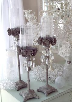 ARCHITECTURAL FRENCH TOLE ROSES CRYSTAL PRISMS CANDLE HOLDER SET