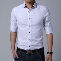 Mens Slim Fit Long Sleeve Fashion Dress Shirts