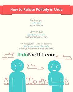 How to refuse politely in Urdu