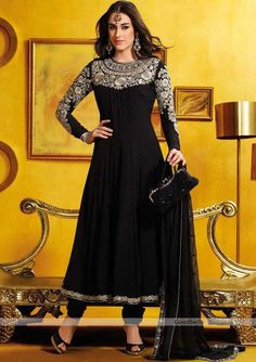 Black Anarkali Churidar Kameez : Online Shopping, - Shop for great products from India with discounts and offers, Indian Clothes and Jewelry Online Shop Indian Attire, Indian Ethnic Wear, Ethnic Dress, Indian Style, Pakistani Outfits, Indian Outfits, Designer Party Dresses, Desi Clothes, Indian Clothes
