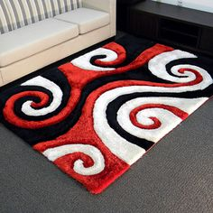 3D Shaggy-805 Abstract Swirl Red Area Rug (5' x 7')