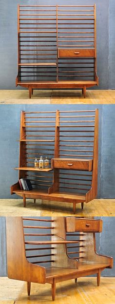 MCM Prouve-inspired Floating Ledge Bookshelf-This would be such a useful piece of furniture. Mid Century Decor, Mid Century Style, Mid Century Modern Design, Mid Century Modern Furniture, Retro Furniture, Furniture Decor, Furniture Design, Bookshelf Room Divider, Room Dividers