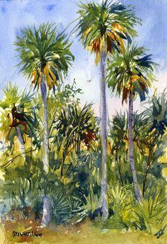 Reaching Up, 10 x 7 Original Watercolor Painting, Landscape, Florida, Palms, Tropical, Watercolor Art, Original Painting, Palm Trees, Green
