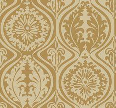 NN4084 Contemporary Damask Metallic Gold Wallpaper #Seabrook