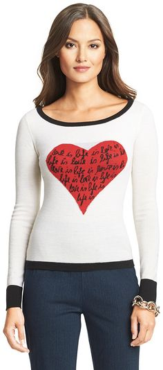 DVF Jillna Heart Print Sweater {worn by Melissa Ordway's Abby ♥ The Young + The Restless}