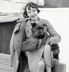 Luise Rainer and her dog Johnny on their way to make it big in America, 1935 What About Bobbed?
