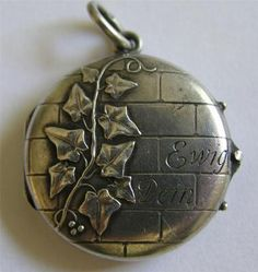 German Antique Art Nouveau Silver Ivy Locket Pendant Charm Forever Yours 1907   eBay
