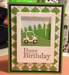 Handmade golf Card, memorybox golf Cart - golf vogne sport, kort, Card for men or sporty women argyle plaid paper green flag