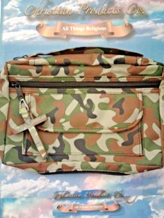 Man/Women Holy Bible Army Camouflage Book Cover with matching zipper cross