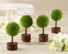 Topiary Photo Place Card Holder Green Wedding Bridal Favor  Set of 4