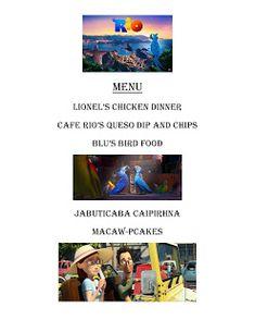 Movie Night For Kids, Movie Night Snacks, Dinner And A Movie, Family Movie Night, Family Movies, Movie Nights, Dinner Themes, Dinner Menu, Rio Movie